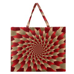 Fractal Red Petal Spiral Zipper Large Tote Bag by Amaryn4rt