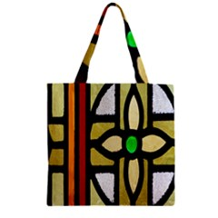 A Detail Of A Stained Glass Window Zipper Grocery Tote Bag by Amaryn4rt
