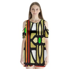 A Detail Of A Stained Glass Window Shoulder Cutout Velvet  One Piece by Amaryn4rt