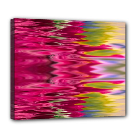 Abstract Pink Colorful Water Background Deluxe Canvas 24  X 20   by Amaryn4rt