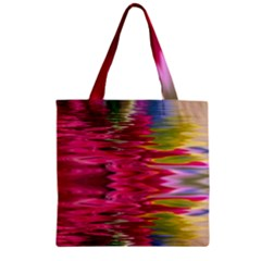 Abstract Pink Colorful Water Background Zipper Grocery Tote Bag by Amaryn4rt