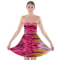 Abstract Pink Colorful Water Background Strapless Bra Top Dress