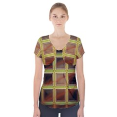 Drawing Of A Color Fractal Window Short Sleeve Front Detail Top by Amaryn4rt