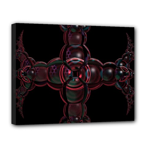 Fractal Red Cross On Black Background Canvas 14  X 11  by Amaryn4rt