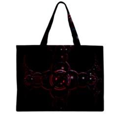 Fractal Red Cross On Black Background Zipper Mini Tote Bag by Amaryn4rt