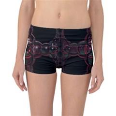 Fractal Red Cross On Black Background Reversible Bikini Bottoms