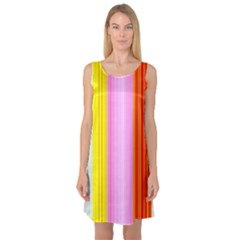 Multi Colored Bright Stripes Striped Background Wallpaper Sleeveless Satin Nightdress