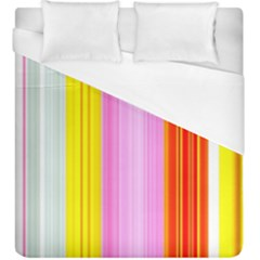 Multi Colored Bright Stripes Striped Background Wallpaper Duvet Cover (king Size) by Amaryn4rt