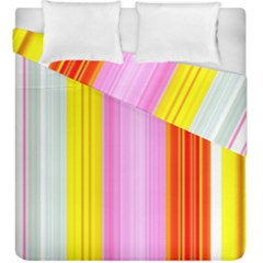 Multi Colored Bright Stripes Striped Background Wallpaper Duvet Cover Double Side (king Size) by Amaryn4rt