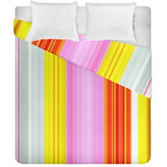 Multi Colored Bright Stripes Striped Background Wallpaper Duvet Cover Double Side (california King Size) by Amaryn4rt