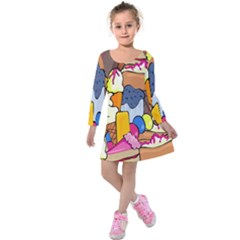 Sweet Stuff Digitally Created Sweet Food Wallpaper Kids  Long Sleeve Velvet Dress by Amaryn4rt