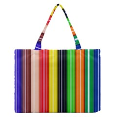 Colorful Striped Background Wallpaper Pattern Medium Zipper Tote Bag by Amaryn4rt