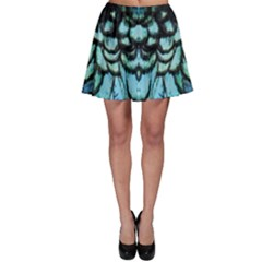 Blue And Green Feather Collier Skater Skirt