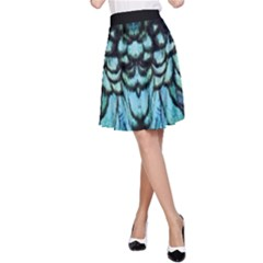 Blue And Green Feather Collier A Line Skirt