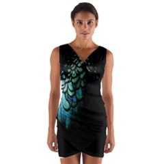 Blue And Green Feather Collier Wrap Front Bodycon Dress
