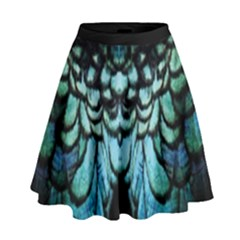 Blue And Green Feather Collier High Waist Skirt