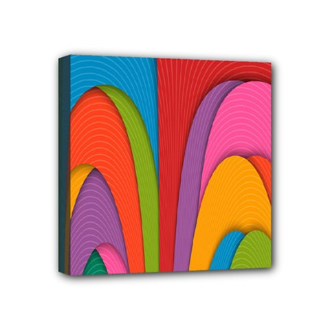Modern Abstract Colorful Stripes Wallpaper Background Mini Canvas 4  X 4