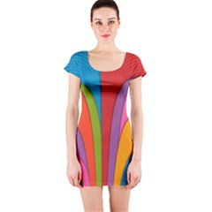 Modern Abstract Colorful Stripes Wallpaper Background Short Sleeve Bodycon Dress by Amaryn4rt