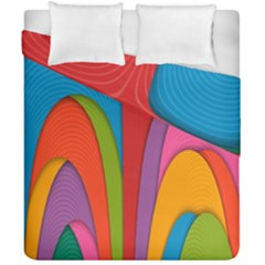 Modern Abstract Colorful Stripes Wallpaper Background Duvet Cover Double Side (california King Size) by Amaryn4rt