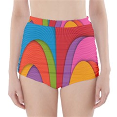 Modern Abstract Colorful Stripes Wallpaper Background High Waisted Bikini Bottoms by Amaryn4rt