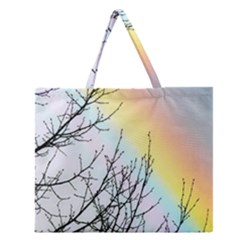 Rainbow Sky Spectrum Rainbow Colors Zipper Large Tote Bag by Amaryn4rt