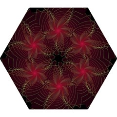 Fractal Red Star Isolated On Black Background Mini Folding Umbrellas by Amaryn4rt