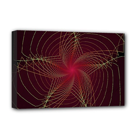Fractal Red Star Isolated On Black Background Deluxe Canvas 18  X 12   by Amaryn4rt