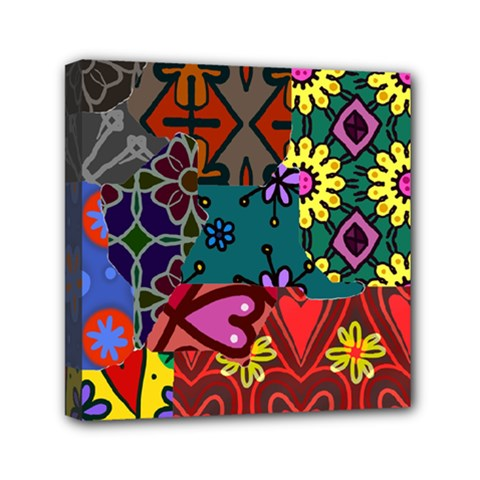 Digitally Created Abstract Patchwork Collage Pattern Mini Canvas 6  X 6  by Amaryn4rt