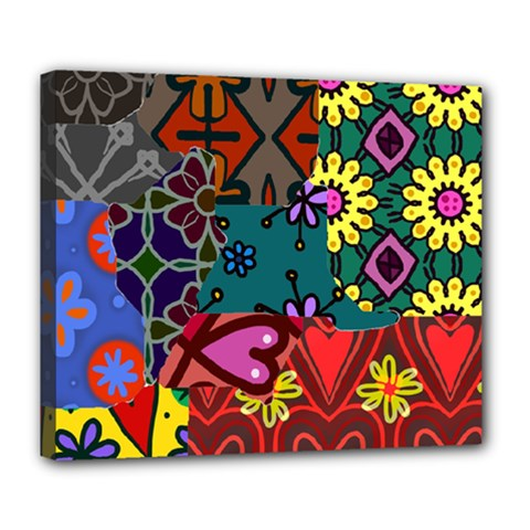 Digitally Created Abstract Patchwork Collage Pattern Deluxe Canvas 24  X 20   by Amaryn4rt