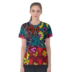 Digitally Created Abstract Patchwork Collage Pattern Women s Cotton Tee by Amaryn4rt