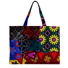 Digitally Created Abstract Patchwork Collage Pattern Zipper Mini Tote Bag by Amaryn4rt