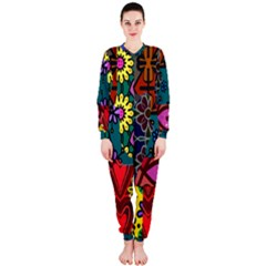 Digitally Created Abstract Patchwork Collage Pattern Onepiece Jumpsuit (ladies)  by Amaryn4rt