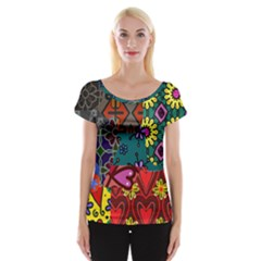 Digitally Created Abstract Patchwork Collage Pattern Women s Cap Sleeve Top by Amaryn4rt
