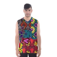 Digitally Created Abstract Patchwork Collage Pattern Men s Basketball Tank Top by Amaryn4rt