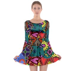 Digitally Created Abstract Patchwork Collage Pattern Long Sleeve Skater Dress by Amaryn4rt