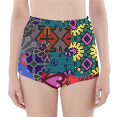 Digitally Created Abstract Patchwork Collage Pattern High Waisted Bikini Bottoms by Amaryn4rt