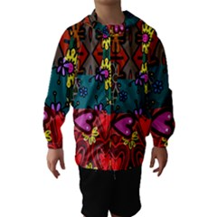 Digitally Created Abstract Patchwork Collage Pattern Hooded Wind Breaker (kids) by Amaryn4rt