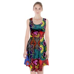 Digitally Created Abstract Patchwork Collage Pattern Racerback Midi Dress by Amaryn4rt