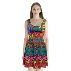 Digitally Created Abstract Patchwork Collage Pattern Split Back Mini Dress  by Amaryn4rt