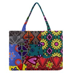 Digitally Created Abstract Patchwork Collage Pattern Medium Zipper Tote Bag by Amaryn4rt