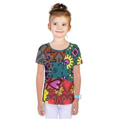Digitally Created Abstract Patchwork Collage Pattern Kids  One Piece Tee by Amaryn4rt