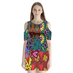 Digitally Created Abstract Patchwork Collage Pattern Shoulder Cutout Velvet  One Piece by Amaryn4rt