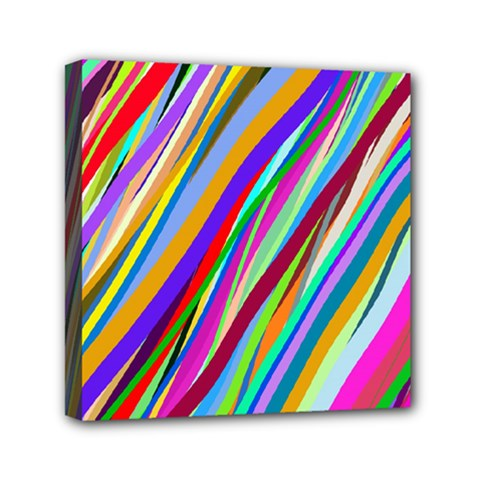 Multi Color Tangled Ribbons Background Wallpaper Mini Canvas 6  X 6  by Amaryn4rt