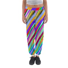 Multi Color Tangled Ribbons Background Wallpaper Women s Jogger Sweatpants by Amaryn4rt