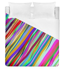 Multi Color Tangled Ribbons Background Wallpaper Duvet Cover (queen Size) by Amaryn4rt