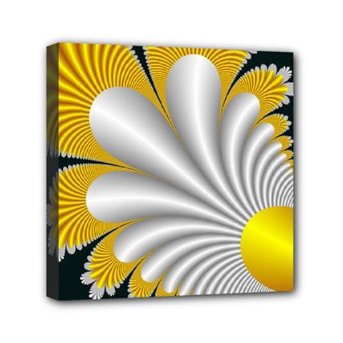 Fractal Gold Palm Tree On Black Background Mini Canvas 6  X 6  by Amaryn4rt