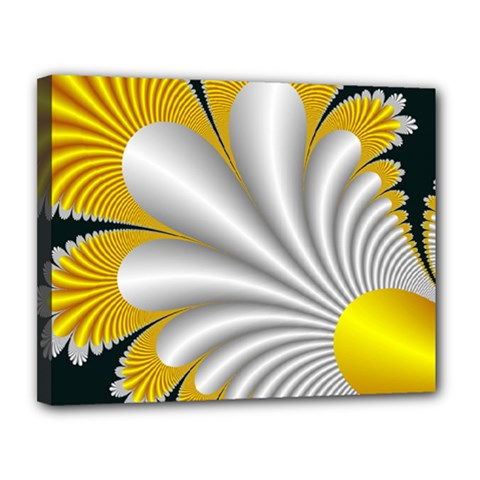 Fractal Gold Palm Tree On Black Background Canvas 14  X 11  by Amaryn4rt