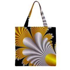 Fractal Gold Palm Tree On Black Background Zipper Grocery Tote Bag by Amaryn4rt