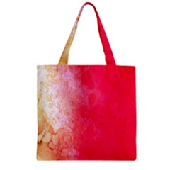Abstract Red And Gold Ink Blot Gradient Zipper Grocery Tote Bag by Amaryn4rt