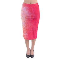 Abstract Red And Gold Ink Blot Gradient Midi Pencil Skirt by Amaryn4rt